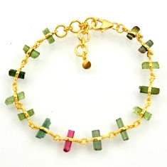 925 silver 14.47cts natural multi color tourmaline tennis bracelet r33268