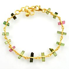 925 silver 14.45cts natural multi color tourmaline tennis bracelet r33280