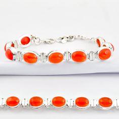 925 silver 37.45cts natural orange cornelian (carnelian) tennis bracelet r38820