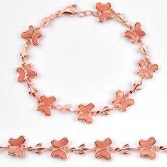 925 silver natural pink opal 14k rose gold butterfly bracelet a59351 c13958
