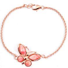 925 silver natural pink opal 14k rose gold butterfly bracelet a59377 c13944