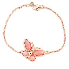 925 silver natural pink opal 14k rose gold butterfly bracelet a76035 c13950