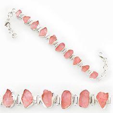 925 silver 38.46cts natural pink rose quartz rough fancy tennis bracelet r27569