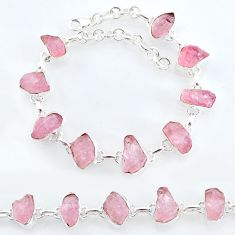 925 silver 32.86cts natural pink rose quartz raw fancy tennis bracelet t7804