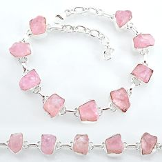 925 silver 34.89cts natural pink rose quartz raw tennis bracelet t7835