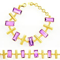 925 silver 27.01cts natural purple amethyst 14k gold tennis bracelet r27594