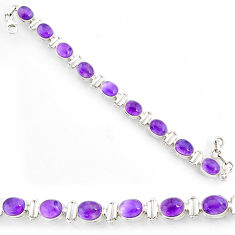 925 silver 35.51cts natural purple amethyst oval shape tennis bracelet r72987