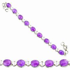 925 silver 37.02cts natural purple amethyst oval shape tennis bracelet r84184