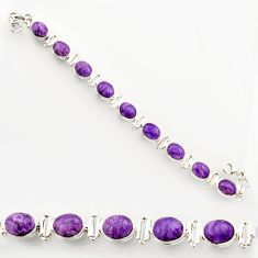 925 silver 37.43cts natural purple charoite (siberian) tennis bracelet r27575