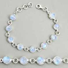 925 silver 21.90cts natural rainbow moonstone round tennis bracelet r25112