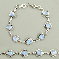 925 silver 20.58cts natural rainbow moonstone round tennis bracelet r25127