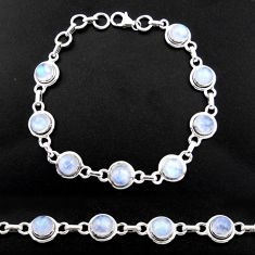925 silver 18.24cts natural rainbow moonstone round tennis bracelet r40444