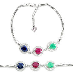 925 silver 9.39cts natural red ruby sapphire emerald tennis bracelet c19632