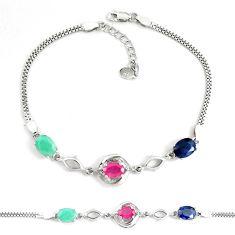 925 silver natural red ruby sapphire emerald topaz tennis bracelet c19755