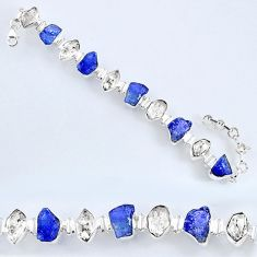 925 silver 67.12cts natural tanzanite rough herkimer diamond bracelet r61744