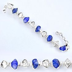 925 silver 55.08cts natural tanzanite rough herkimer diamond bracelet r61749