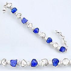 925 silver 54.65cts natural tanzanite rough herkimer diamond bracelet r61752