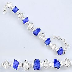 925 silver 59.85cts natural tanzanite rough herkimer diamond bracelet r61759