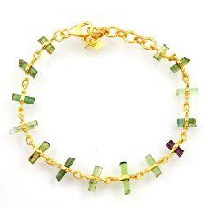 925 silver 12.58cts natural tourmaline fancy 14k gold tennis bracelet r33255