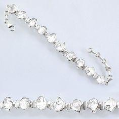 925 silver 43.25cts natural white herkimer diamond fancy tennis bracelet r61717
