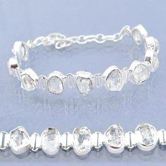 925 silver 37.97cts natural white herkimer diamond fancy tennis bracelet t6684