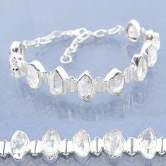 925 silver 42.37cts natural white herkimer diamond fancy tennis bracelet t6689