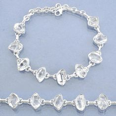 925 silver 37.08cts natural white herkimer diamond fancy tennis bracelet t7751