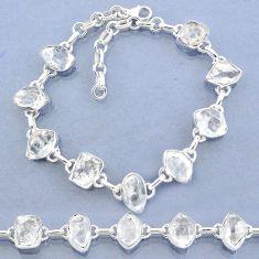 925 silver 38.71cts natural white herkimer diamond fancy tennis bracelet t7757