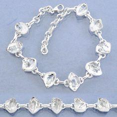 925 silver 36.45cts natural white herkimer diamond fancy tennis bracelet t7760