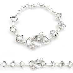 925 silver 54.31cts natural white herkimer diamond pearl tennis bracelet d45844