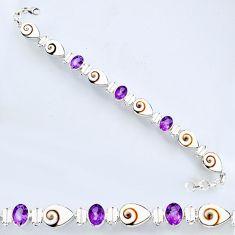 925 silver 32.79cts natural white shiva eye amethyst tennis bracelet r56553