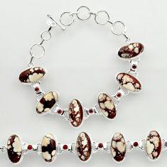 925 silver 48.81cts natural wild horse magnesite garnet tennis bracelet r27424