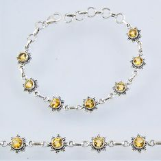 925 silver 6.61cts natural yellow citrine round tennis bracelet jewelry r55005