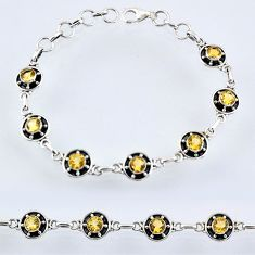 925 silver 6.61cts natural yellow citrine round tennis bracelet jewelry r55025