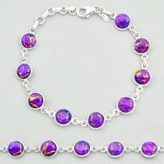 925 silver 19.60cts purple copper turquoise round shape tennis bracelet t19630