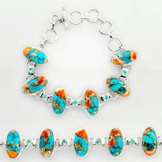925 silver 48.81cts spiny oyster arizona turquoise tennis bracelet r27438