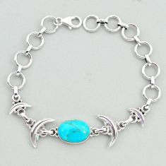 925 silver 6.42cts tennis blue arizona mohave turquoise moon bracelet t38826