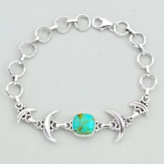925 silver 5.87cts tennis blue arizona mohave turquoise moon bracelet t38832