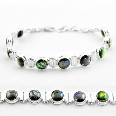 925 silver 29.39cts tennis natural ammolite (canadian) round bracelet t45325
