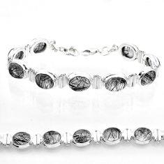 925 silver 36.23cts tennis natural black tourmaline rutile bracelet t50038