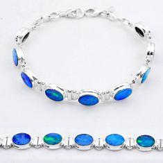 925 silver 24.24cts tennis natural blue doublet opal australian bracelet t37648