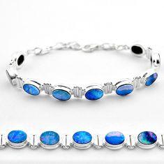 925 silver 19.24cts tennis natural blue doublet opal australian bracelet t45347