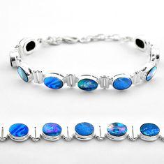 925 silver 19.24cts tennis natural blue doublet opal australian bracelet t45350