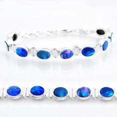 925 silver 22.16cts tennis natural blue doublet opal australian bracelet t47489