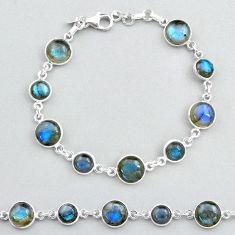 925 silver 24.89cts tennis natural blue labradorite round shape bracelet t48753