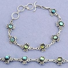 925 silver 15.11cts tennis natural blue labradorite round shape bracelet t8380