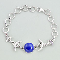 925 silver 6.66cts tennis natural blue lapis lazuli cushion moon bracelet t38825