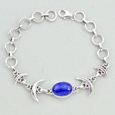 925 silver 6.51cts tennis natural blue lapis lazuli oval moon bracelet t38823