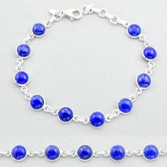 925 silver 21.42cts tennis natural blue lapis lazuli round shape bracelet t40309