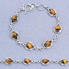 925 silver 14.82cts tennis natural brown tiger's eye round bracelet t8447